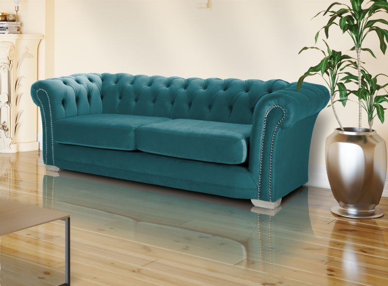 velvet chesterfield teal turqouise 3 seater sloane sofa with studs
