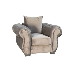 Velvet Light Grey 1 Seater Westwood Sofa with Diamante Buttons