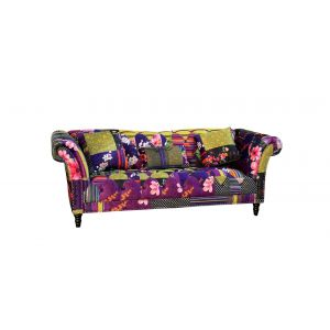 Fabric Patchwork Chesterfield 3 Seater Fitzrovia Sofa
