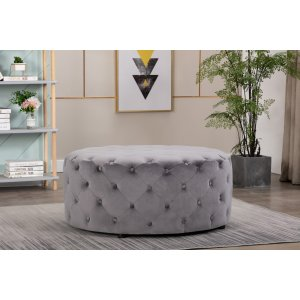 Velvet Light Grey Chesterfield Large Round Ottoman with Buttons