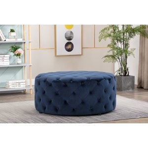 Velvet Navy Blue Chesterfield Large Round Ottoman with Buttons