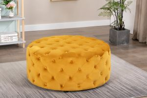 Velvet Gold Chesterfield Large Round Ottoman with Buttons