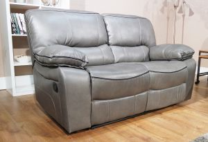 Leather Air Grey 2 Seater Verona Manual Recliner