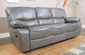 Leather Air Grey 3 Seater Verona Manual Recliner