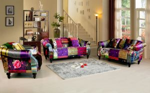 Fabric Patchwork 3 + 2 + 1 Avici Shout Sofa Suite