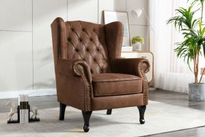 Suede Wing Back Edward Chair / Armchair with Buttons Brown