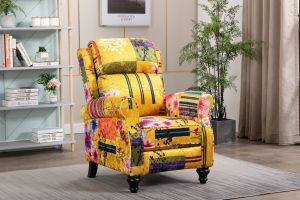 Fabric Gold Patchwork Mary Recliner Chair