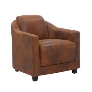 Microfibre Leather Suede Brown Aviator Tub Chair