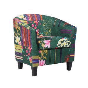 Fabric Green Patchwork Tricia Tub Chair