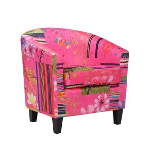 Fabric Pink Patchwork Tricia Tub Chair