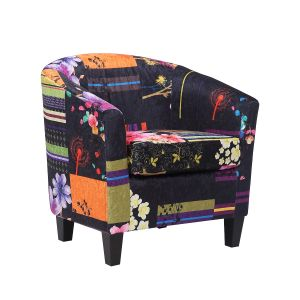 Fabric Black Patchwork Tricia Tub Chair