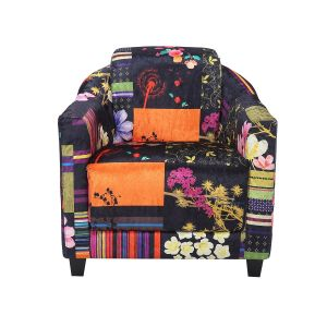 Fabric Black Patchwork Aviator Tub Chair