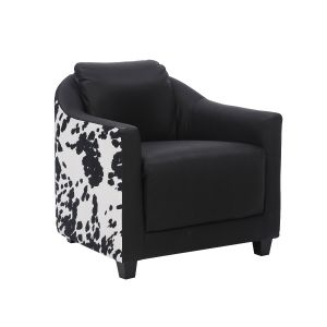 Genuine Leather Black Cow Print Aviator Tub Chair