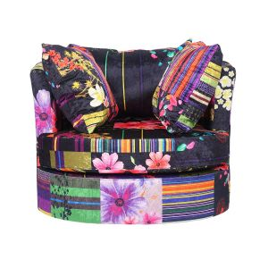 Fabric Anna Black Patchwork Amy Cuddle Chair