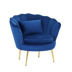 Velvet Blue 1 Seater Daisy Sofa