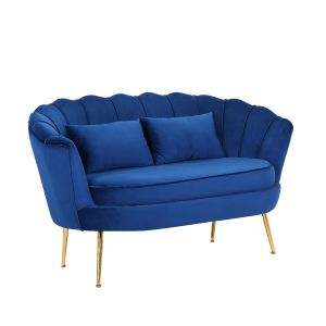 Velvet Blue 2 Seater Daisy Sofa