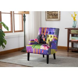Fabric Patchwork Accent Chair