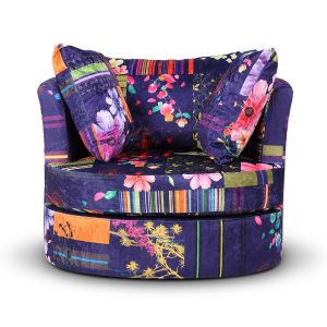 Fabric Anna Navy Patchwork Amy Cuddle Chair