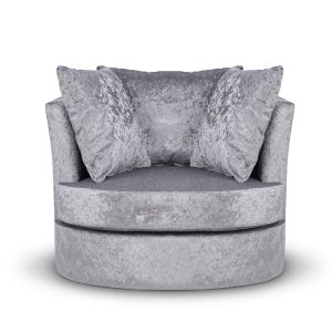 Crushed Velvet Silver Amy Cuddle Chair