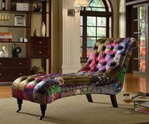 Fabric Patchwork Chaise Lounge Chesterfield Avici Scroll