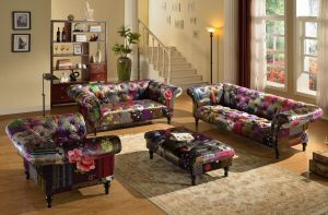 Fabric Patchwork Chesterfield 3 + 2 + 1 Avici Scroll Sofa Suite