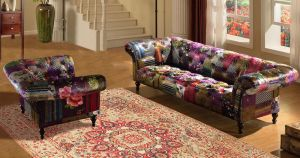Fabric Patchwork Chesterfield 3 + 1 + 1 Avici Scroll Sofa Suite