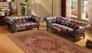 Fabric Patchwork Chesterfield 3 + 2 Seater Avici Scroll Sofa Suite