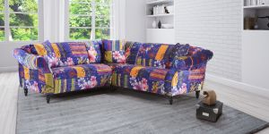 Fabric Blue Patchwork 2c2 Seater Avici Shout Sofa