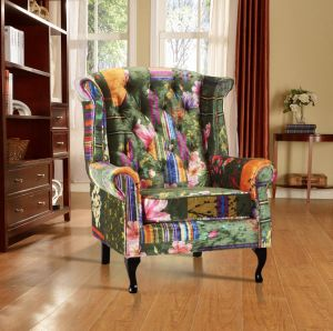 Fabric Green Patchwork Chesterfield Avici Scroll Wingback Chair