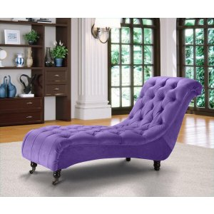 Velvet Fabric Chesterfield Chaise Lounge Purple Belmont