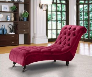 Velvet Fabric Chesterfield Chaise Lounge Claret Belmont