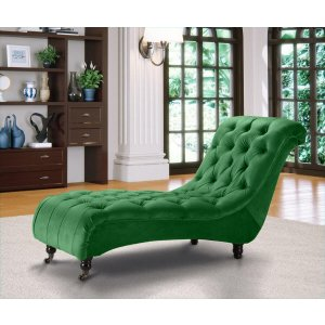 Velvet Fabric Chesterfield Chaise Lounge Emerald Green Belmont