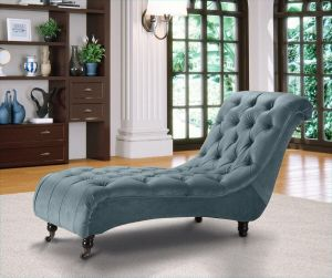 Velvet Fabric Chesterfield Chaise Lounge Light Blue Belmont