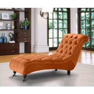 Velvet Fabric Chesterfield Chaise Lounge Burnt Orange Belmont