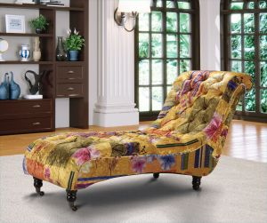 Fabric Gold Patchwork Chaise Lounge Chesterfield Avici Scroll