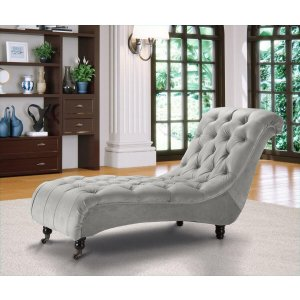Velvet Fabric Chesterfield Chaise Lounge Light Grey