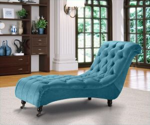 Velvet Fabric Chesterfield Chaise Lounge Cerulean Blue Belmont
