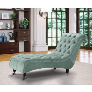 Velvet Fabric Chesterfield Chaise Lounge Duck Egg Green Belmont