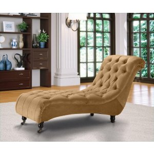 Velvet Fabric Chesterfield Chaise Lounge Old Gold Belmont