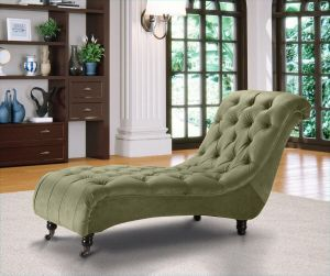 Velvet Fabric Chesterfield Chaise Lounge Olive Green Belmont