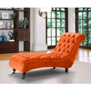 Velvet Fabric Chesterfield Chaise Lounge Pumpkin Orange Belmont
