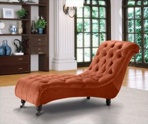 Velvet Fabric Chesterfield Chaise Lounge Sunset Orange Belmont