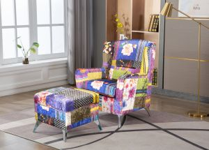 Fabric Patchwork Chesterfield Banksy Wingback Chair with Footstool
