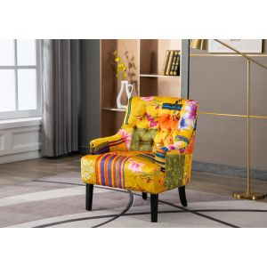 Fabric Gold Patchwork Accent Chair