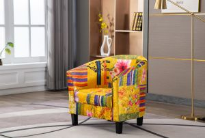 Fabric Gold Patchwork Tub Chair