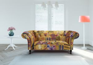 Fabric Gold Patchwork Chesterfield 2 Seater Avici Scroll Sofa