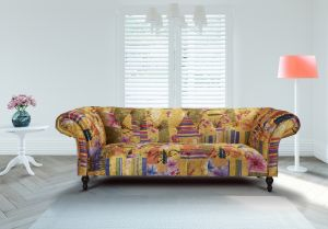 Fabric Gold Patchwork Chesterfield 3 Seater Avici Scroll Sofa
