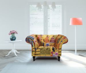 Fabric Gold Patchwork Chesterfield 1 Seater Avici Scroll Sofa
