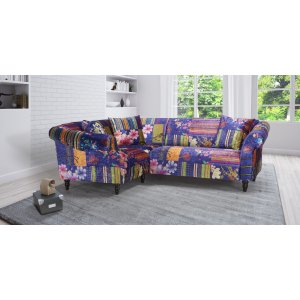Fabric Blue Patchwork 1c2 Seater Avici Shout Sofa