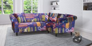 Fabric Blue Patchwork 2c1 Seater Avici Shout Sofa